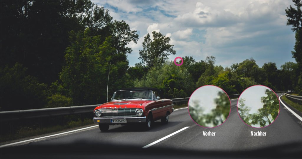 Bilder verlustfrei vergrößern. Fotos größer machen ohne Qualitätsverlust. Ford Mustang beispiel vorher nachher