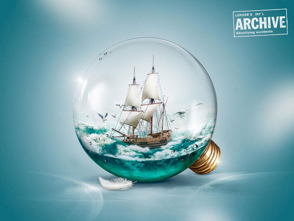 Sailer in a light bulb // 200best digital artists. www.verlustfrei-vergrößern.de /  Fotos größer machen ohne Qualitätsverlust.